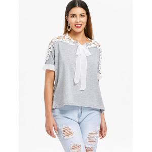 Stylish Jewel Neck Guipure Flared Sleeve Bow Embellished T-Shirt For Women -