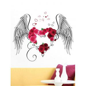 Flower Heart Wings Print Wall Stickers for Bedrooms -