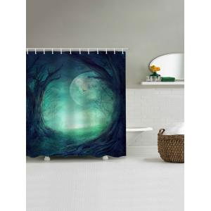 Moon Night Forest Print Waterproof Bathroom Shower Curtain -