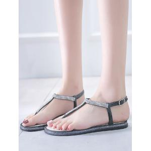 Crystals Embellished Casual Beach Buckle Strap Thong Sandals -