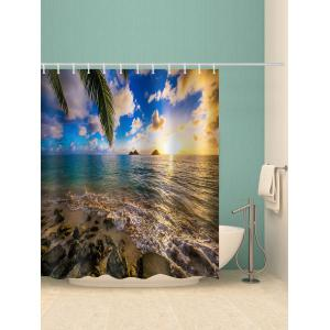 Beach Scene Print Waterproof Shower Curtain -