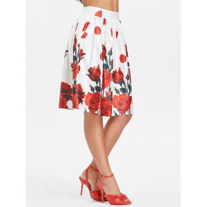 Retro High Rise Pocket Rose Print Skirt -