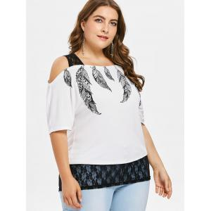 Lace Panel Plus Size Feather Print Top -