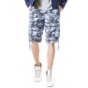 Zip Fly Flap Pockets Camouflage Cargo Shorts -