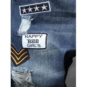 Embroidery Patches Hole Denim Jeans -