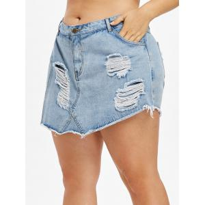 Short en Denim de Grande Taille Superposé et Effiloché -