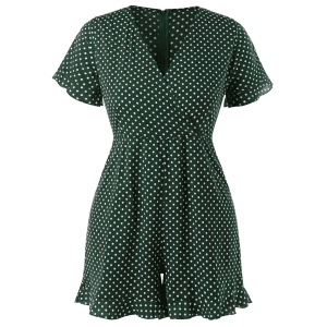 Plus Size Polka Dot Ruffled Romper -