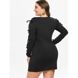 Lace Up Sleeve Plus Size Bodycon Dress -