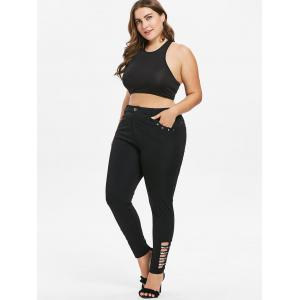 Rhinestone Insert Plus Size Side Cut Out Pants -