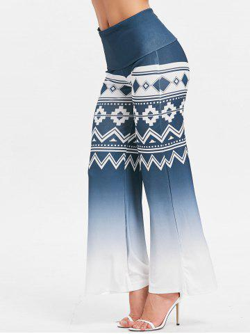 Cheap Geometric Print Ombre Flare Pants