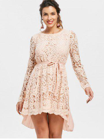 Long Sleeve High Low Lace Mini Pleated Dress