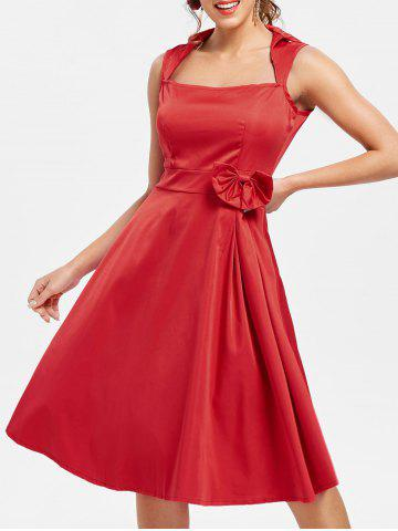 Unique Vintage Turn-Down Collar Sleeveless Solid Color Bowknot Embellished Women's Dress