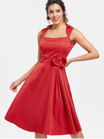 70894b10c Vintage Turn-Down Collar Sleeveless Solid Color Bowknot Embellished Women s  Dress