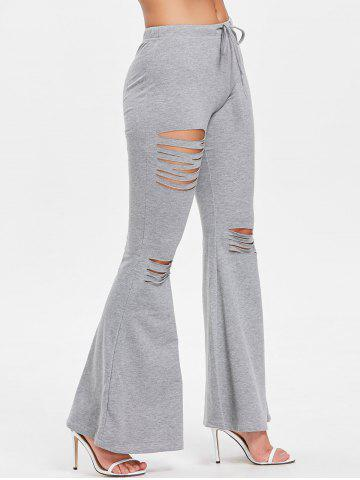 Unique High Waisted Drawstring Ripped Flare Pants