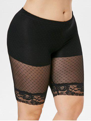 New Plus Size Sheer Gridding Thigh Shorts