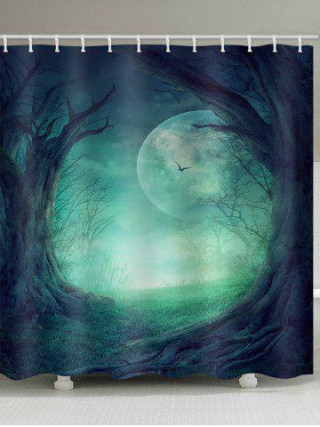 Latest Moon Night Forest Print Waterproof Bathroom Shower Curtain
