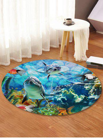 Best Underwater World Print Round Coral Fleece Floor Rug
