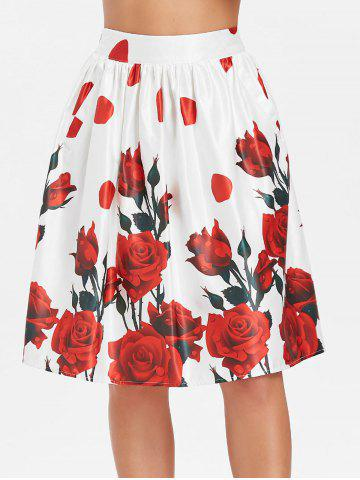 Fashion Retro High Rise Pocket Rose Print Skirt