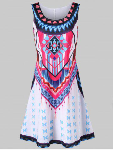 Ethnic Print Mini Trapeze Dress