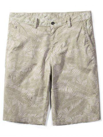 Unique Zip Fly Allover Leaves Print Shorts