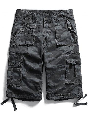 Sale Zip Fly Flap Pockets Camouflage Cargo Shorts