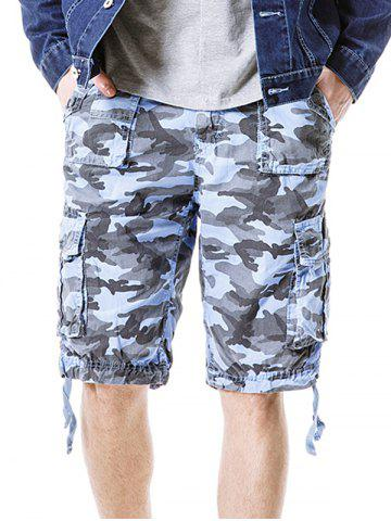 Cheap Zip Fly Flap Pockets Camouflage Cargo Shorts