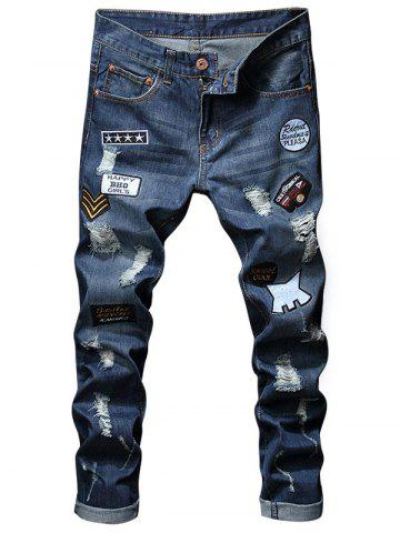 Trendy Embroidery Patches Hole Denim Jeans