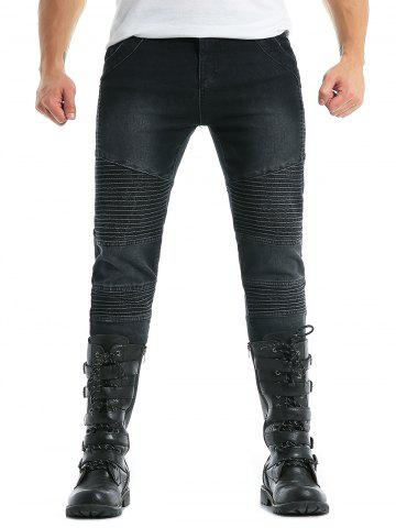 Cheap Zip Fly Moto Skinny Biker Jeans