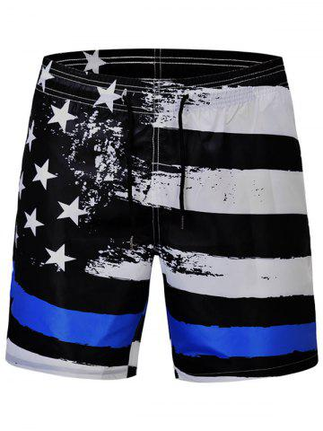 Unique Stars and Stripes Print Quick Dry Swim Shorts