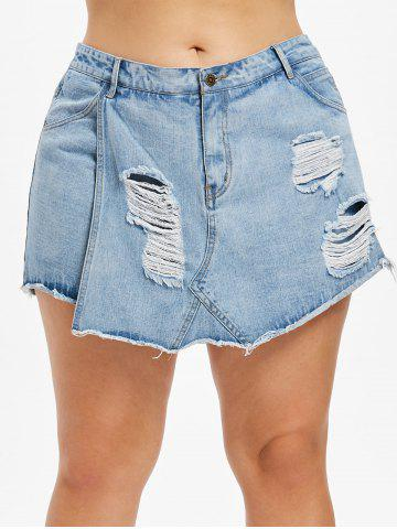 Short en Denim de Grande Taille Superposé et Effiloché