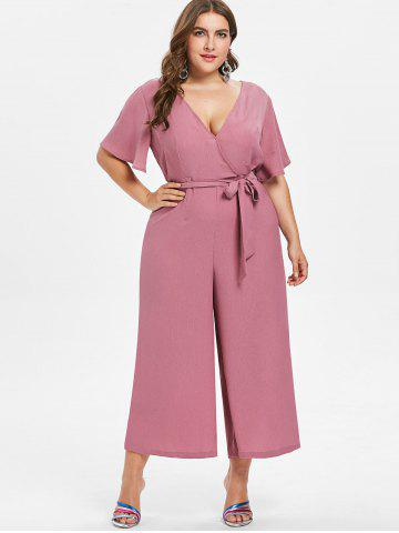 Outfit Plus Size V Neck Belted Jumpsuit
