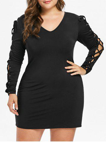 Latest Lace Up Sleeve Plus Size Bodycon Dress