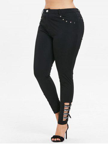 Discount Rhinestone Insert Plus Size Side Cut Out Pants