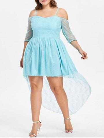New Plus Size Cold Shoulder Lace High Low Dress