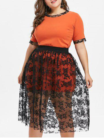 Buy Plus Size Lace Skirt and Long Tee
