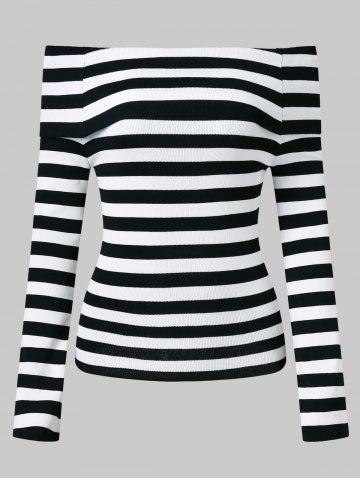 Affordable Off The Shoulder Stripe Knit Top