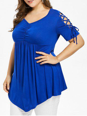 Affordable Plus Size Lace Up Empire Waist T-shirt