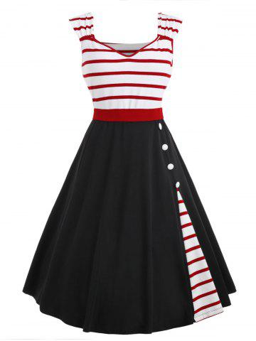 Outfit Striped Insert Sweetheart Neck Vintage Dress