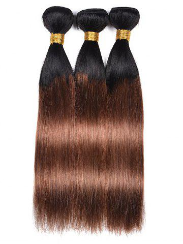 Unique Human Hair Ombre Straight 3Pcs Hair Weaves