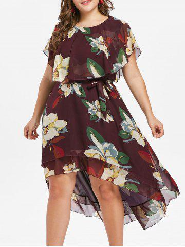 Trendy Plus Size Floral High Low Dress