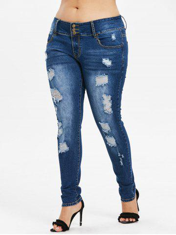 Fancy Plus Size Ripped High Waisted Jeans
