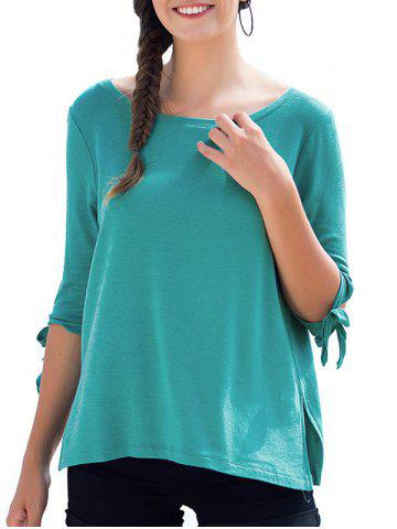 Round Neck Bow Tie Sleeves Causal Tee - BLUE GREEN - L