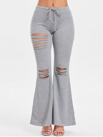 High Waisted Drawstring Ripped Flare Pants