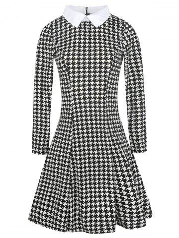 Flat Neck Houndstooth Print Fit and Flare Dress