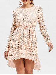 Long Sleeve High Low Lace Mini Pleated Dress -