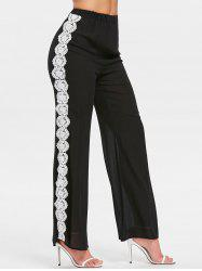 Crochet Panel High Waisted Pants -