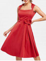 Vintage Turn-Down Collar manches solides robe de couleur bowknot embellies femmes - Rouge S