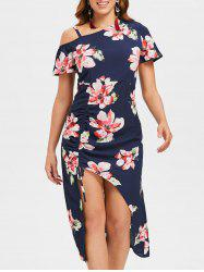 Floral Side Drawstring Asymmetric Dress -