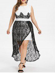 Lace Panel Plus Size Slit Dress -