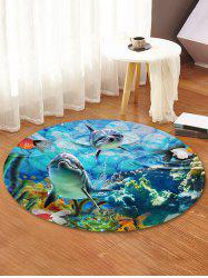 Underwater World Print Round Coral Fleece Floor Rug -